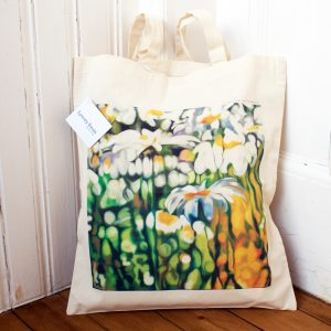 ox-eye daisy floral canvas tote bag